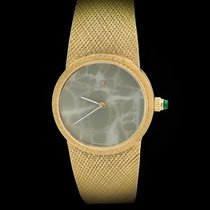 Omega 18K Yellow Gold Mechanical Movement Jadeite Stone Dial