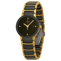 Rado Ladies Centrix Jubile Black Dial Two Tone Ceramic Watch