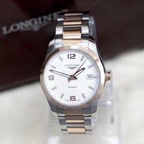 Longines Conquest Classic Mens Watch Steel 18ct Rose Gold...