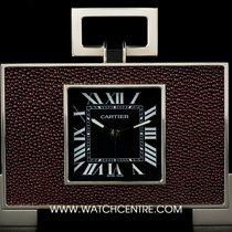 Cartier Stainless Steel Black Roman Dial Stingray Skin Desk Clock