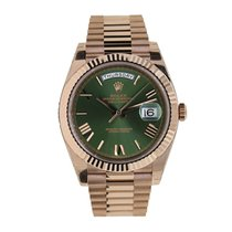 Rolex DAY-DATE 40 Rose Gold President 60th Anniversary Green Dial