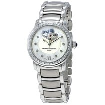 Frederique Constant White Gullioche Mother of Pearl Stainless...