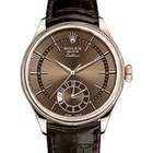 Rolex Cellini Time 50525 39mm Brown Guilloche Index Rose Gold...