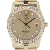 Omega Seamaster Lady Gelbgold Diamond Quarz 24mm Vintage...