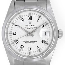 Rolex Date Men's Stainless Steel Watch with White Dial 15200