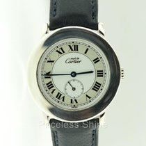 Cartier Silver Case Roman Dial Quartz Watch Sub Seconds