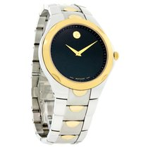 Movado Luno Mens Black Dial Two Tone Stainless Steel Swiss...