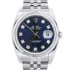 Rolex Datejust 16234 Blue Diamond Dial Mens Watch