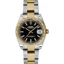 Rolex Datejust Ladies Midsize 178343-BLKSO Black Index Yellow...