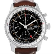 Breitling Navitimer World Chrono Gmt Steel Brown Strap Watch...