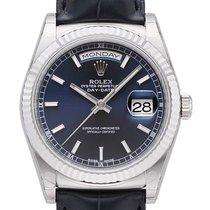 Rolex Day-Date 36 18 kt Weißgold Leder 118139 Blau