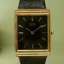 Seiko vintage dressy watch gold plated black dial ref 7800-5079