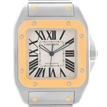 Cartier Santos 100 Xl Steel Yellow Gold Watch W200728g Box Papers