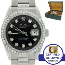 Rolex DateJust Oyster Perpetual 1603 Steel Black Date Fluted 36mm