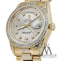 Rolex Presidential 36mm Day Date Silver String Diamond Watch...