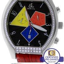 Jacob & Co. Diamond Chronograph Quasar Stainless Leather...