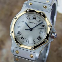 Cartier Santos 18k Gold And Stainless Steel C2000 Unisex Swiss...