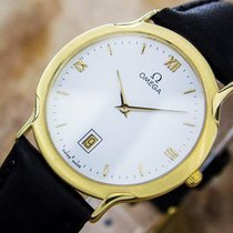 Omega Deville Quartz Solid 18k Gold Men's Swiss Made Dress...
