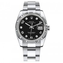 Rolex Date 34mm White Gold Bezel Black Diamond Dial - 115234