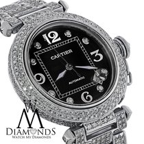Cartier Pasha Automatic Midsize Diamond Stainless Steel Watch...