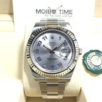 Rolex Datejust II Rhodium Silver Blue Arabic White Gold Bezel...