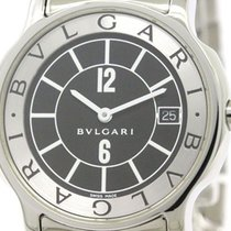 Bulgari Polished  Solotempo Steel Quartz Mens Watch S35s St35s...