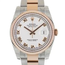 Rolex DATEJUST 36mm Steel & 18K Rose Gold White Roman Dial...