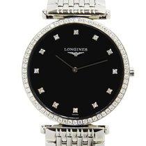 Longines La Grande Stainless Steel With Diamonds Black Quartz...