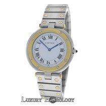 Cartier Mint Unisex Ladies  Santos Ronde Steel 18K Gold Steel...