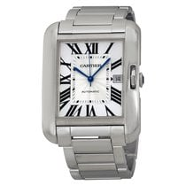 Cartier Tank Anglaise Silver Dial 18kt White Gold Mens Watch...