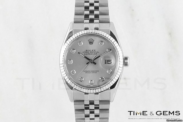 Rolex Stainless Steel Silver Diamond Dial Fluted Bezel Datejust
