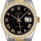 Rolex Datejust Steel & Gold Men's 2-Tone Watch Black...