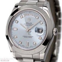 Rolex DAY-DATE II Ref-218206 950 Platinum Ice Blue Diamond...