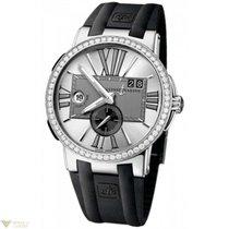 Ulysse Nardin Executive Dual Time Silver Diamonds Bezel Men`s...