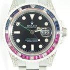 Rolex GMT MASTER II,Steel,Aftermarket Setted Diamonds,Saphhire b