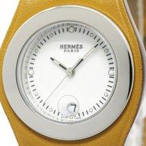 Hermès Polished Hermes Harneis Steel Leather Quartz Ladies...