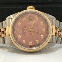 Rolex Datejust Ouro & Aço 36mm Salmon/rosa Com Diamantes