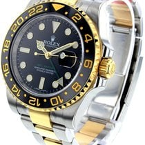 Rolex GMT Master II Black Dial Oyster Link Mechanical SS/YG...