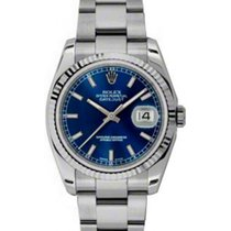 Rolex Datejust 36 116234-BLUSFO Blue Index Fluted White Gold...