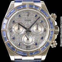 Rolex 116589 Daytona 18k White Gold Baguette Sapphire Bezel...