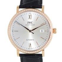 IWC Portofino 18 K Rose Gold With Diamonds Silver Automatic...
