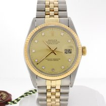 Rolex Datejust Original Champagne Diamond Dial Gold/Steel 16013