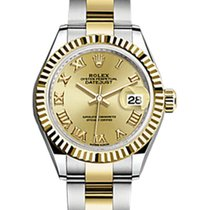 Rolex Lady-Datejust 28 279173 Champagne Roman Fluted Yellow...