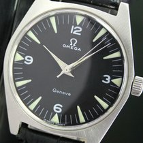Omega Geneve Winding Black Dial Steel Mens Wrist Watch