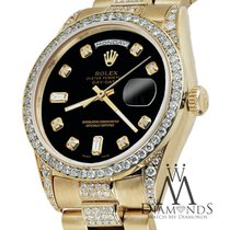 Rolex Presidential 36mm Day Date Black Dial Diamond Watch 18kt...