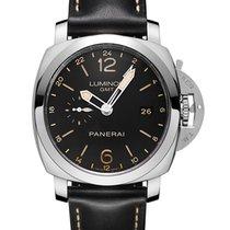 Panerai Luminor 1950 GMT Acciaio Black Dial Black Leather...