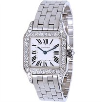 Cartier Santos Demoiselle WF9004Y8 Unisex Diamond Watch in 18K...