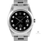 Rolex Datejust Stainless Steel Black Diamond Dial Smooth Bezel...