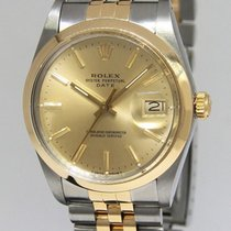 Rolex Date 18k Yellow Gold & Stainless Steel Champagne...