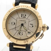 Cartier Pasha Solid 18k Yellow Gold Mens' Watch On Blue...